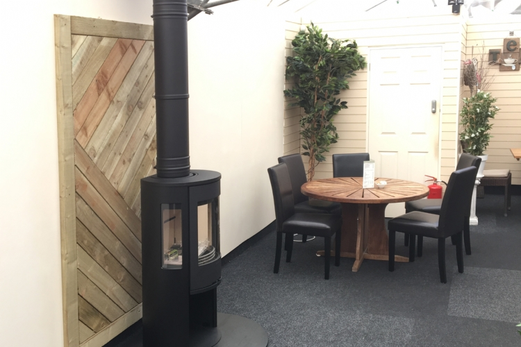 Woodburner at Newquay Garden Centre