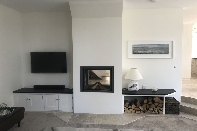 Double sided wood burner in Cornwall, Stuv 21