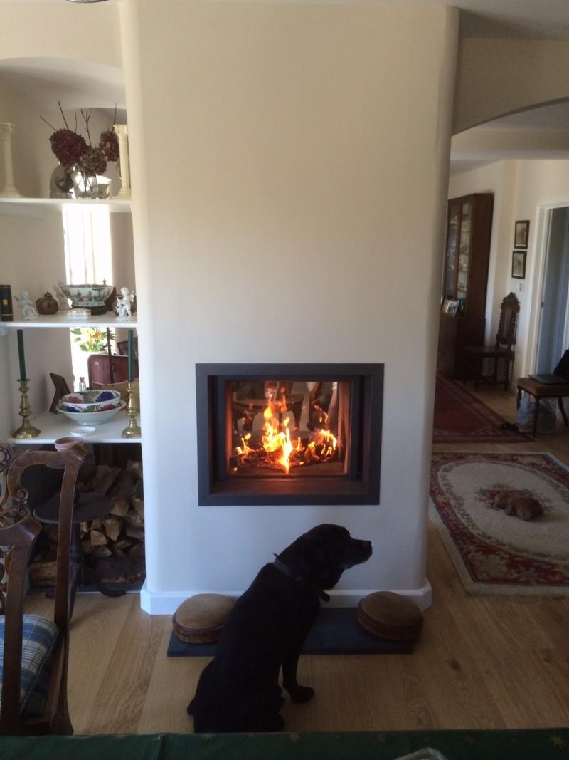 Stuv 21/75 doublesided woodburner installation wood burning stove ...