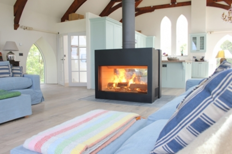 Stuv 21 125 double sided fireplace in Cornwall