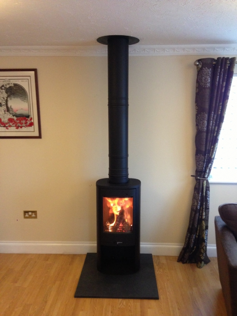 contura 810 in black wood burning stove installation from kernow