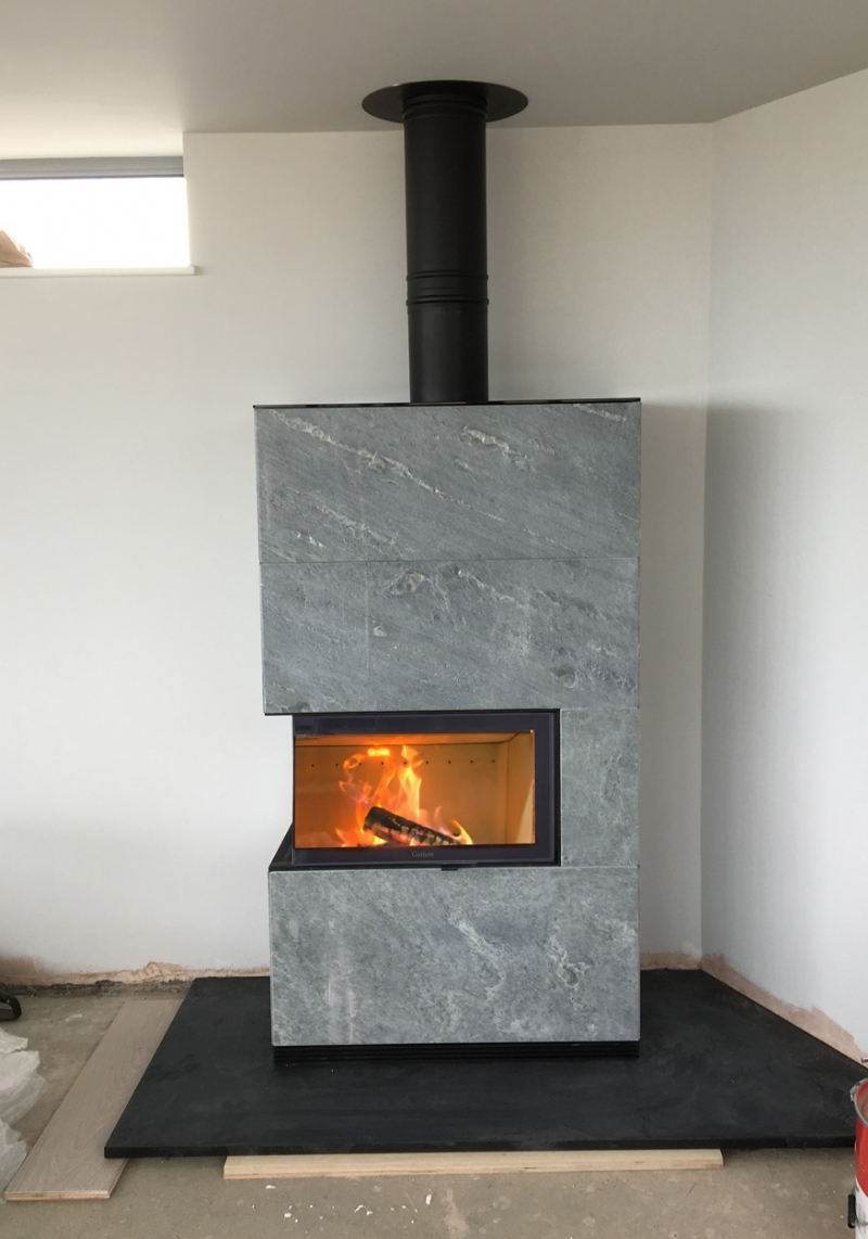 Contura I41 In Grey Wood Burning Stove Installation From