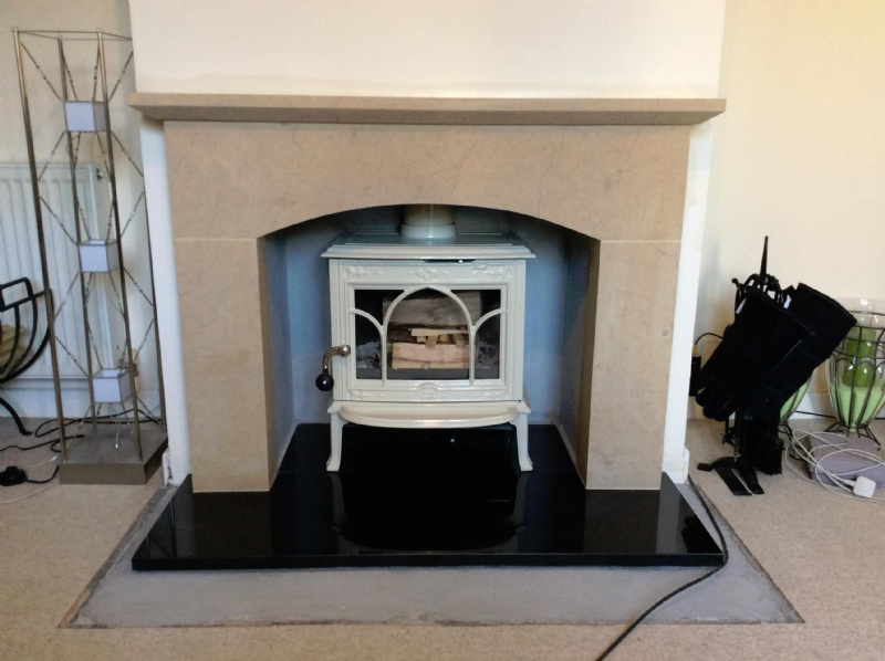 Jotul F100 in a Wessex Stone Fireplace