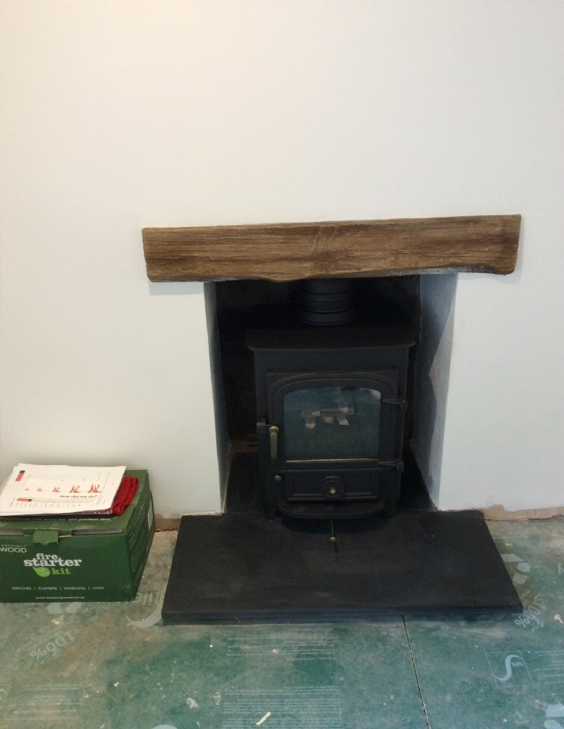 Clearview 400 in a simple fireplace
