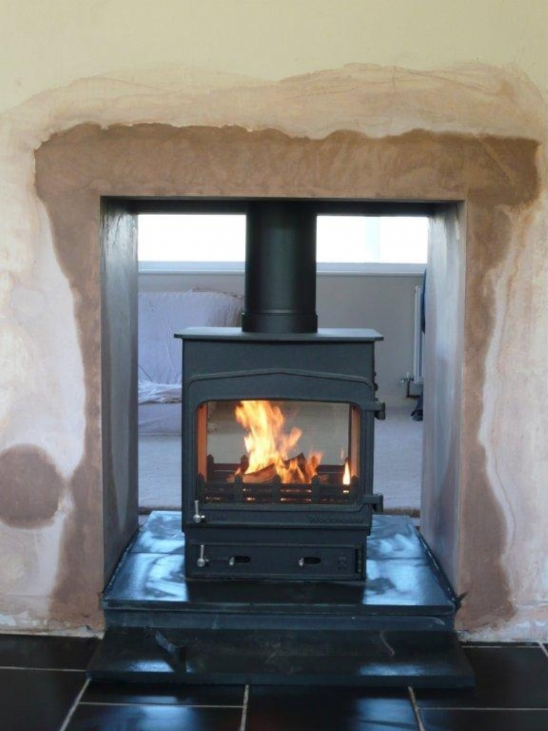 Woodwarm double sided fire with profile top