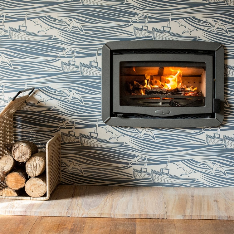 Enamel Patterned Fireplace Surround
